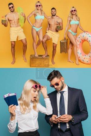 Photo pour Collage de gens d'affaires surpris avec passeports et billets d'avion regardant smartphone sur bleu, et heureux couple reposant sur la plage sur jaune - image libre de droit