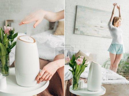 Photo pour Collage avec jeune femme dans la chambre avec purificateur d'air et tulipes - image libre de droit