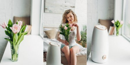 Photo pour Collage avec belle fille heureuse assise dans la chambre avec purificateur d'air et fleurs, culture horizontale - image libre de droit