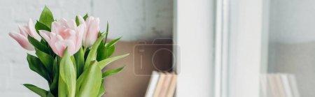 Photo pour Foyer sélectif de fleurs de tulipes roses sur le rebord de la fenêtre avec des livres, culture panoramique - image libre de droit