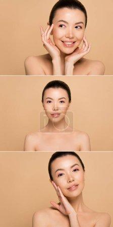Photo pour Collage avec attrayant nu asiatique fille avec parfait peau isolé sur beige - image libre de droit