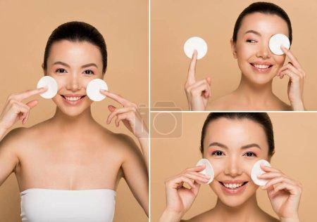 Photo pour Collage avec belle fille asiatique souriante démaquillage du visage avec des tampons de coton isolés sur beige - image libre de droit