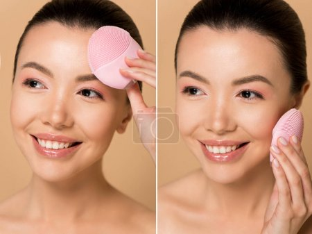 Photo for Collage with attractive smiling nude asian girl using silicone cleansing facial brush isolated on beige - Royalty Free Image