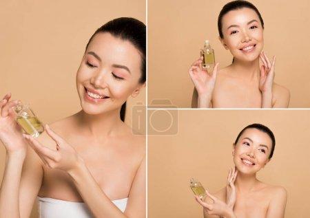 Photo pour Collège avec attrayant heureux asiatique fille tenant bouteille de parfum isolé sur beige - image libre de droit