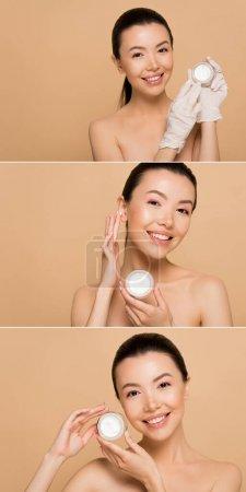 Photo pour Collage avec sourire nu asiatique fille en latex gants appliquer crème visage isolé sur beige - image libre de droit
