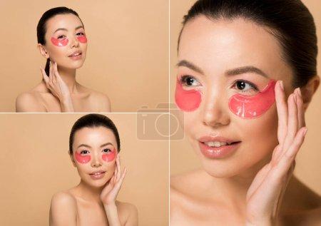 Photo pour Collage avec attrayant nu asiatique fille avec rose collagène yeux coussinets isolés sur beige - image libre de droit