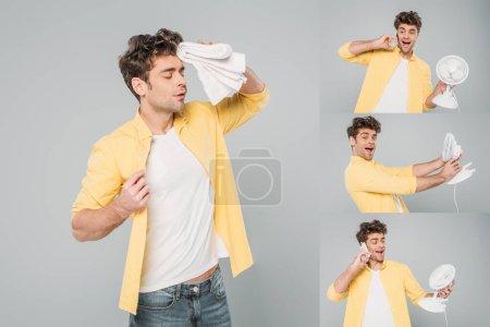 Photo pour Collage d'homme parlant sur smartphone et souffrant de chaleur avec serviette et ventilateurs de bureau sur gris - image libre de droit