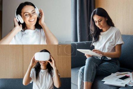 Foto de Collage con mujeres trabajando con documentos y tabletas digitales, usando auriculares vr y escuchando música con auriculares en autoaislamiento. - Imagen libre de derechos