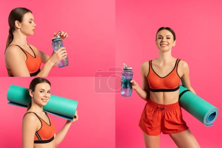 Photo for Collage of happy sportswoman holding sports bottle with water and fitness mat on pink - Royalty Free Image