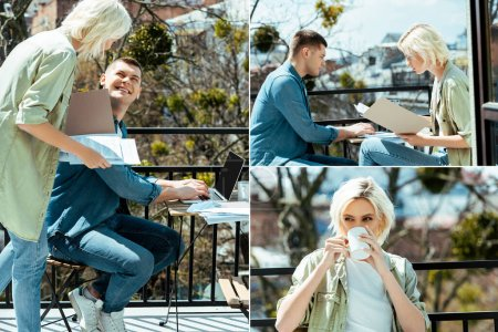 Photo for Collage of business people working with laptop and papers on sunny terrace and woman drinking tea - Royalty Free Image