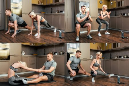 collage of sportive couple doing exercises at home