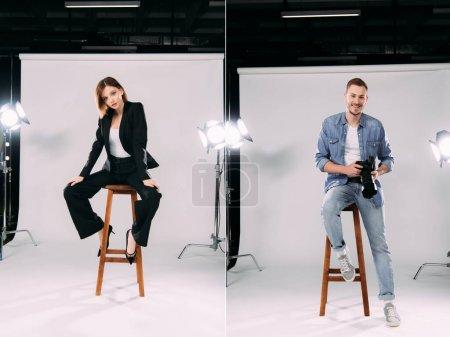 Photo pour Collage d'une belle maquette et d'un photographe souriant assis sur une chaise dans un studio de photographie - image libre de droit