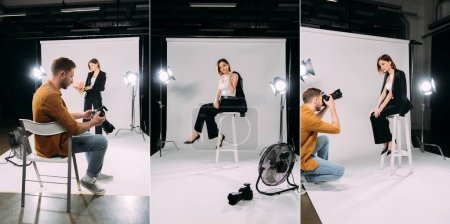 Collage of photographer and beautiful stylish model working in photo studio