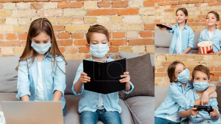 Foto de KYIV, UKRAINE - APRIL 27, 2020: collage of kid in medical mask using laptop, holding remote controller near brother with bucket of popcorn and playing video game. - Imagen libre de derechos