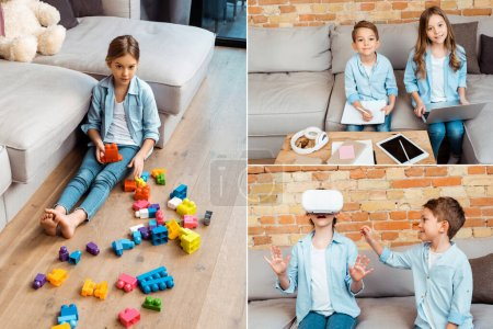 Photo for Collage of kid near building blocks, wearing virtual reality headset and siblings e-learning near gadgets - Royalty Free Image