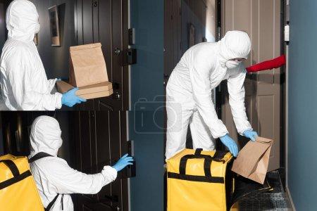 Photo pour Collage de courrier en combinaison hazmat et masque médical sonnant à la sonnette de la porte et tenant paquet avec boîtes à pizza près de la porte - image libre de droit