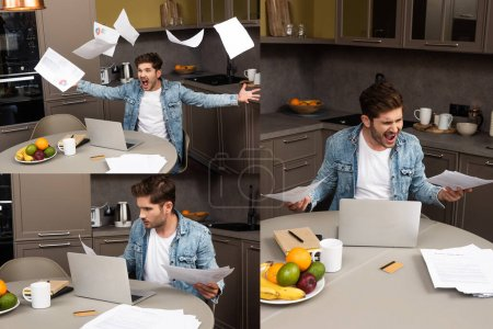 Collage de freelancer enojado tirando papeles cerca de la computadora portátil en la mesa de la cocina