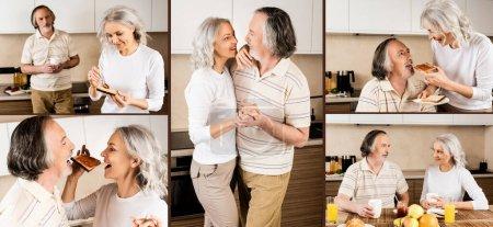 collage de feliz pareja madura bailando y desayunando en la cocina
