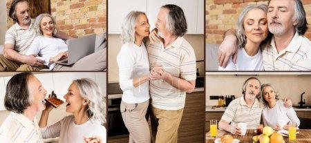 Photo pour Collage de couple mature dansant, mangeant le petit déjeuner et utilisant un ordinateur portable - image libre de droit