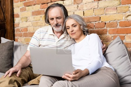 happy middle aged freelancers using laptop at home