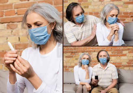 Photo for Collage of mature couple in medical masks watching movie and woman looking at digital thermometer at home - Royalty Free Image