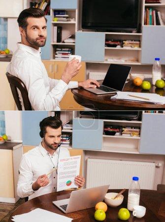 """Photo pour Collage d'un pigiste buvant du café et utilisant un casque d """"écoute pendant qu'il travaille à la maison - image libre de droit"""
