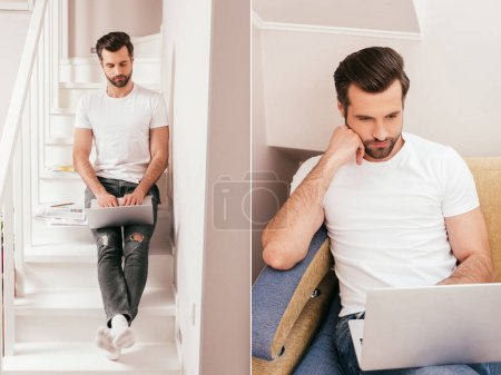 Collage of teleworker using laptop and on stairs and couch at home