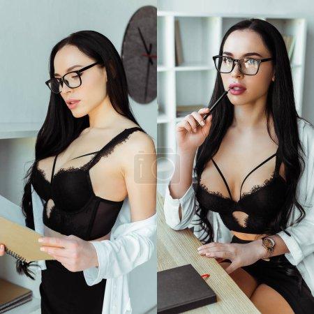 Photo pour Collage de secrétaire sensuel dans le soutien-gorge tenant carnet et stylo dans le bureau - image libre de droit