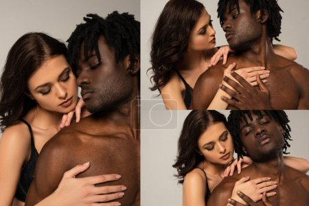 Photo pour Collage d'un couple interracial sexy entouré de grisaille - image libre de droit