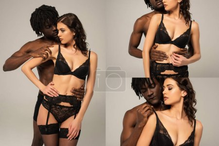 Photo for Collage with passionate african american man hugging woman in black lingerie isolated on grey - Royalty Free Image