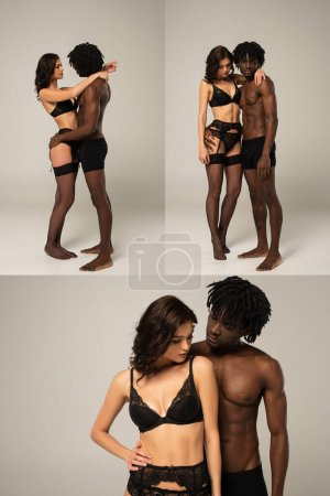 Photo for Collage with beautiful passionate interracial couple hugging on grey - Royalty Free Image
