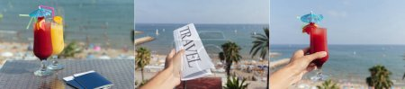 Photo for Collage of man holding cocktail, newspaper with travel lettering with beach and sea at background - Royalty Free Image