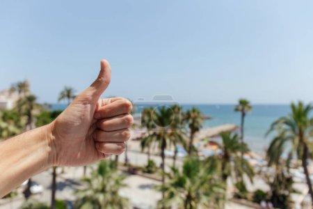 Photo pour Vue recadrée de l'homme montrant comme geste avec des palmiers et la côte de la mer en arrière-plan en Catalogne, Espagne - image libre de droit
