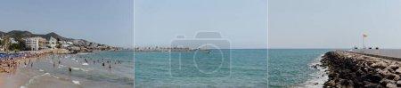 Photo pour CATALONIE, ESPAGNE - 30 AVRIL 2020 : Collage de personnes se reposant sur la plage, yachts en mer et jetée avec ciel clair à l'arrière-plan - image libre de droit