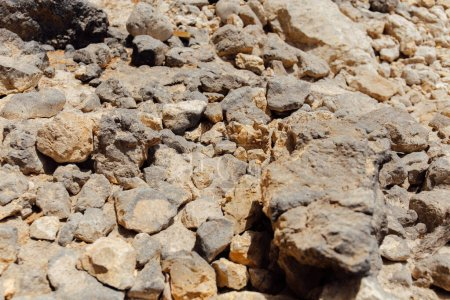 Selective focus of stones with sunlight on beach