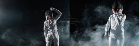 Collage of fencer holding fencing mask and rapier on black background with smoke