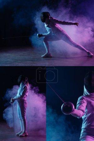 Photo pour Collage d'entraînement d'escrime avec rapière sur fond noir avec fumée - image libre de droit