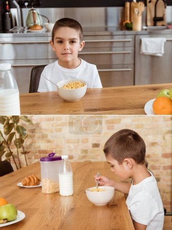Photo for Collage of boy eating cereals during breakfast in kitchen - Royalty Free Image