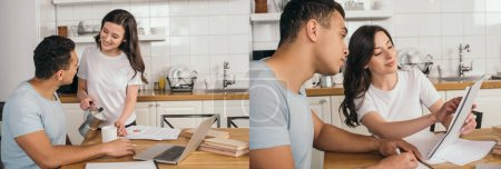 collage of cheerful girl holding coffee pot, cup and papers near mixed race man and laptop on table