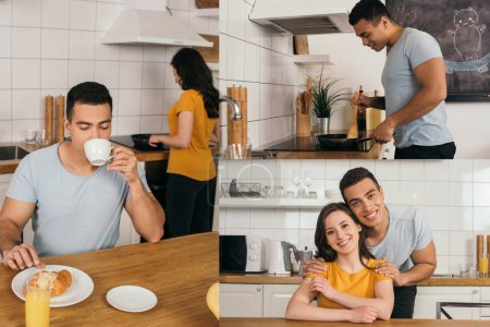 Photo for Collage of mixed race man drinking coffee, cooking while touching frying pan and hugging happy woman at home - Royalty Free Image
