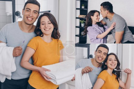 collage of cheerful multiracial couple holding towels and toothbrushes in bathroom