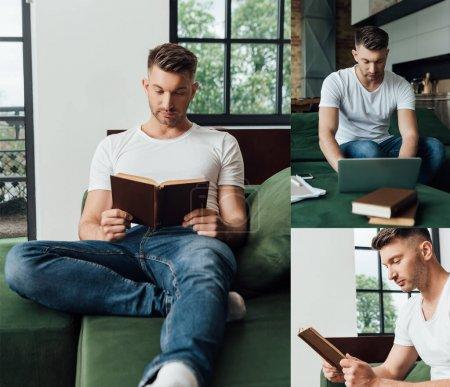 Photo pour Collage de beaux pigistes utilisant un ordinateur portable près d'un smartphone avec écran vierge et livres de lecture dans le salon - image libre de droit