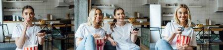 Photo pour Collage de femmes heureuses tenant télécommandes et sœurs regardant un film près de savoureux pop-corn - image libre de droit