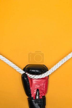 Boxing glove hanging on rope