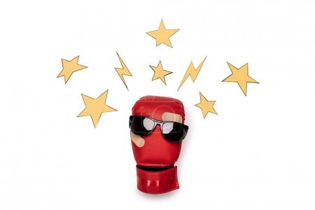 Boxing glove with sunglasses