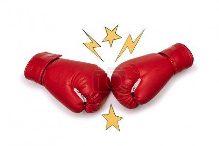 Photo pour Gants de boxe rouges prêts à en découdre isolé sur blanc - image libre de droit