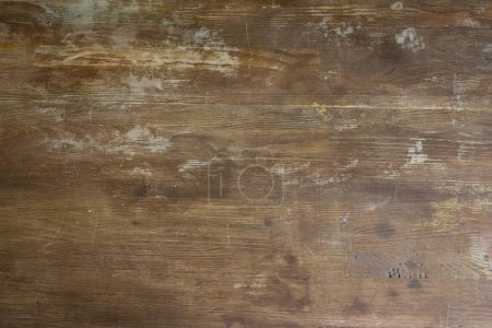Photo for Top view of old shabby wooden tabletop background - Royalty Free Image