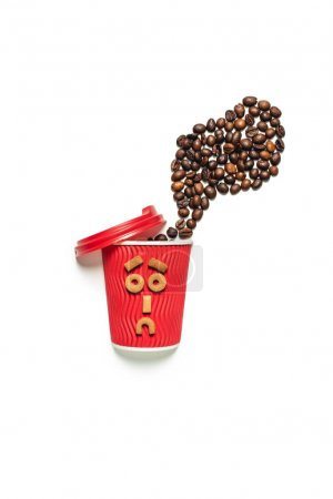 Coffee beans with paper cup and cookies