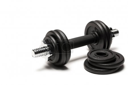 iron dumbbell with weight plates