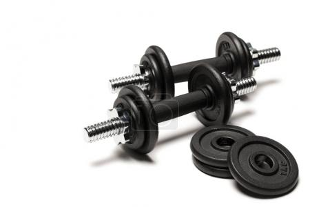 Iron dumbbells with weight plates